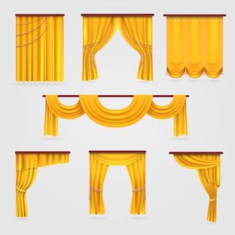 Tendaggio di tende di velluto dorato