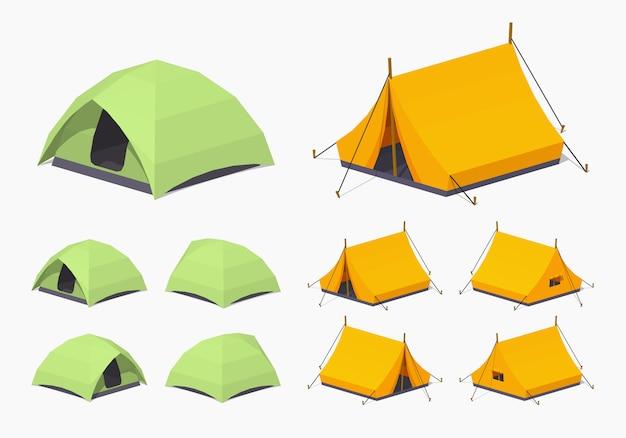 Tende da campeggio isometriche 3d lowpoly