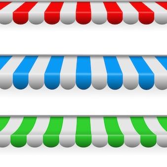 Tende da sole colorate a strisce per negozi, ristoranti.