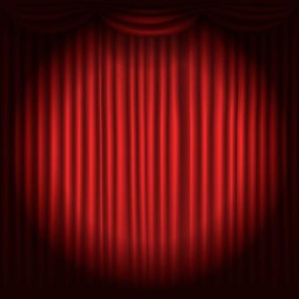 Tende del palcoscenico con illustrazione vettoriale spot luce