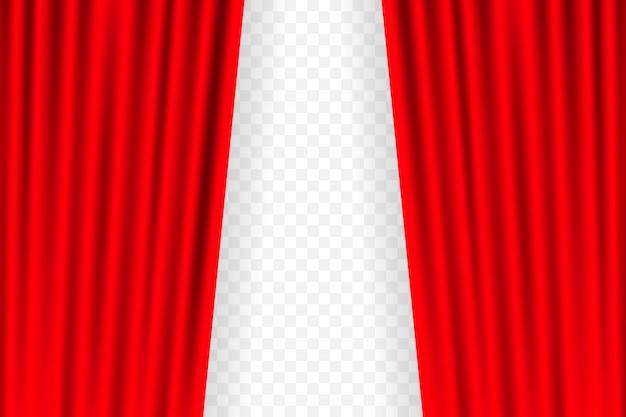Tende per l'intrattenimento per film. il bello teatro rosso ha piegato le tende sulla tenda sul palco nero. illustrazione.