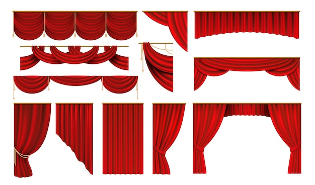 Tende rosse realistiche. bordi per palcoscenici di cinema e teatro, eleganti drappeggi 3d.