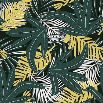 Tendenza seamless con brillanti foglie e piante tropicali