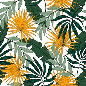 Tendenza seamless con piante tropicali su uno sfondo bianco