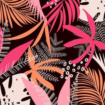 Tendenze di foglie e piante tropicali colorate luminose