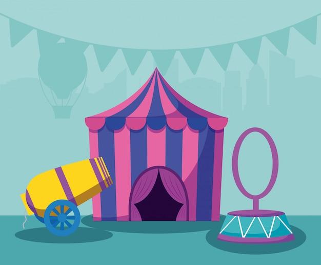 Tendone da circo con cannone e anello
