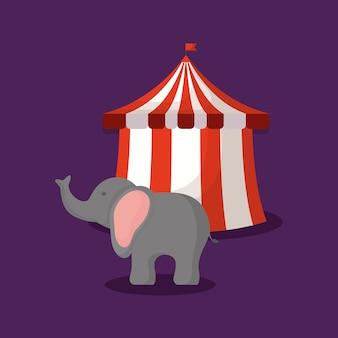Tendone da circo con elefanti dei cartoni animati scaricare