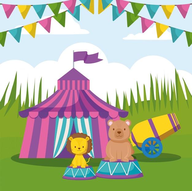 Tendone da circo con ghirlande e simpatici animali
