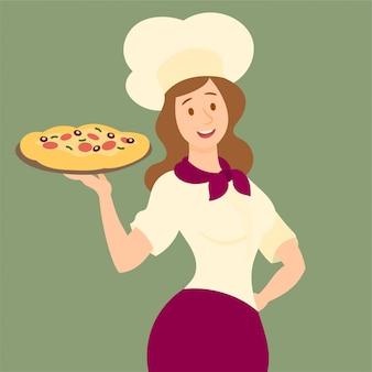 Tenendo una pizza saporita su un vassoio