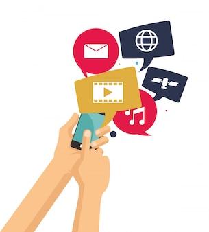 Tenere in mano i video musicali di chat video smart phone
