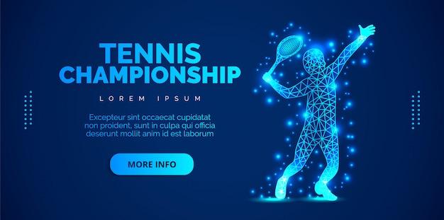 Tennis astratto dalle particelle su fondo blu. brochure modello, volantini, presentazioni, logo, stampa, depliant, banner.