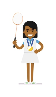 Tennis della giovane donna di colore con la racchetta