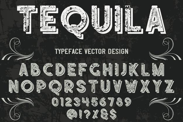 Tequila di disegno di etichetta di carattere