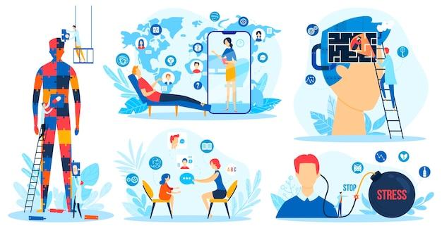 Terapia mentale, set di illustrazioni vettoriali per la salute del cervello delle persone. terapista psicologo piatto del fumetto, personaggi pazienti in psicoterapia