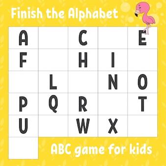 Termina l'alfabeto. gioco abc per bambini. foglio di lavoro per lo sviluppo dell'istruzione. fenicottero rosa.
