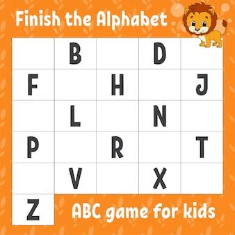 Termina l'alfabeto. gioco abc per bambini. foglio di lavoro per lo sviluppo dell'istruzione. leone arancione