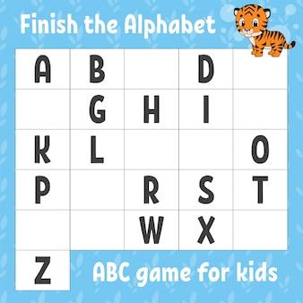 Termina l'alfabeto. gioco abc per bambini. foglio di lavoro per lo sviluppo dell'istruzione.