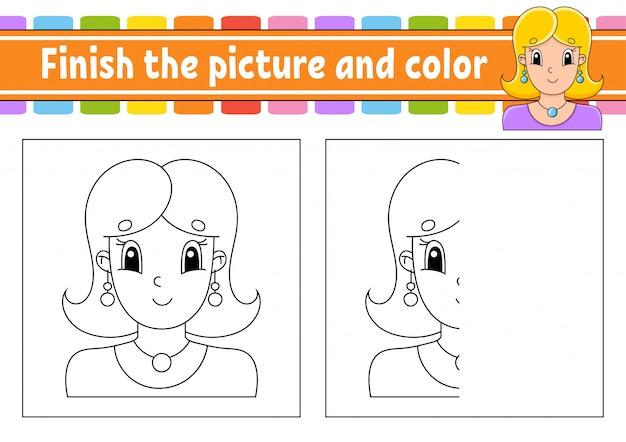 Termina l'immagine e il colore. bella ragazza alla moda carina con gioielli. personaggio dei cartoni animati isolato su sfondo bianco.