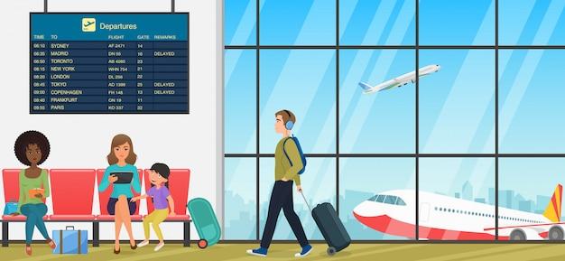Terminal passeggeri dell'aeroporto con sala d'attesa con sedie e viaggiatori per persone. interno arrivi e partenze internazionali