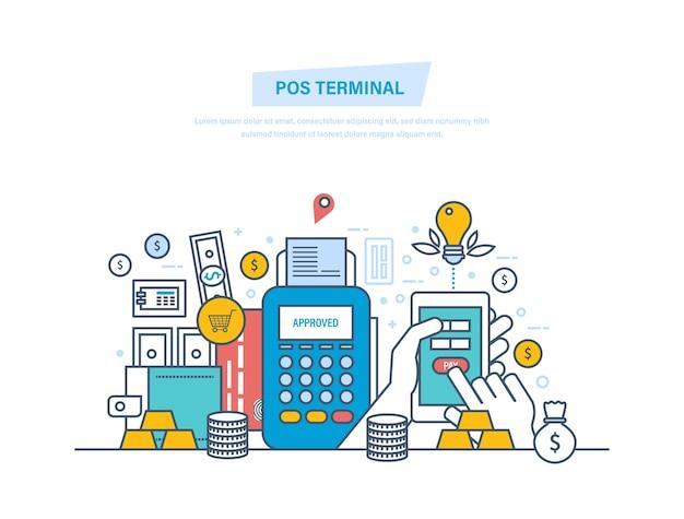 Terminale pos, transazioni finanziarie, operazione cashless a pagamento con linea sottile smartphone.
