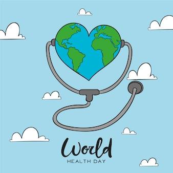 Terra a forma di cuore del giorno di salute mondiale nel cielo