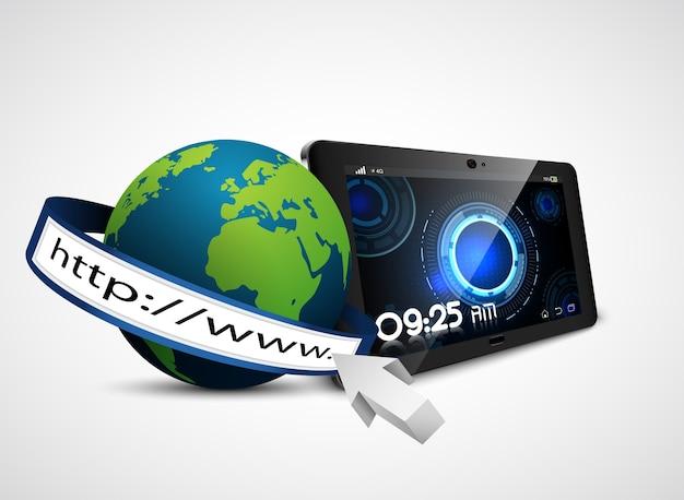 Terra del globo con la barra degli indirizzi e tablet isolato