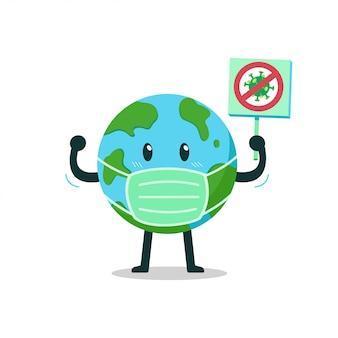 Terra del personaggio dei cartoni animati che indossa una maschera protettiva con segno anti virus