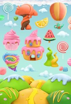 Terra di caramelle dolci, set di oggetti vettoriali 3d. illustrazione di arte di plastilina