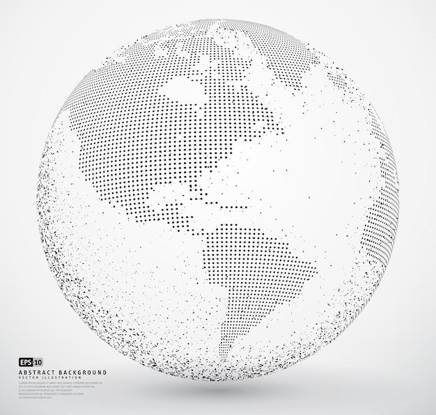 Terra di globo tratteggiata astratta