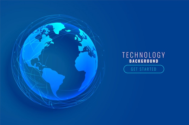 Terra di tecnologia con design di linee di rete globale