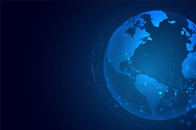 Terra di tecnologia con sfondo di connessione di rete