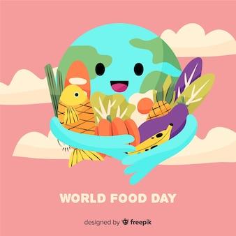 Terra disegnata a mano che abbraccia il cibo