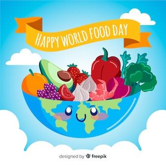Terra disegnata a mano come ciotola per cibo sano
