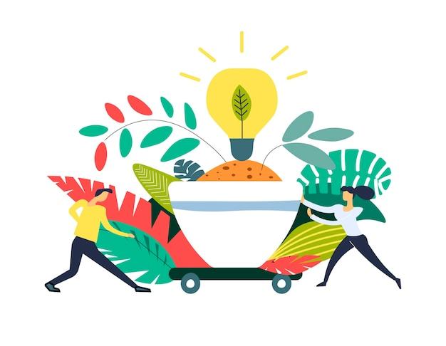 Terra risparmiata in contenitore e lampadina elettrica