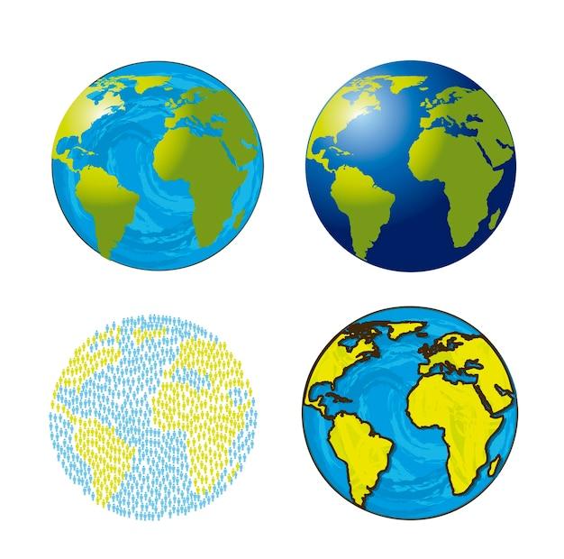 Terre isolate su sfondo bianco illustrazione vettoriale