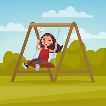 Terreno di gioco. ragazza che oscilla su un'altalena. illustrazione