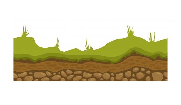 Terreno, terra e terra senza soluzione di continuità per i giochi dell'interfaccia utente. superficie del terreno, erba di pietra