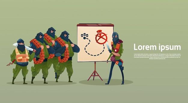Terrorismo armato terrorista maschera nera hold arma mitragliatore pianificazione attacco