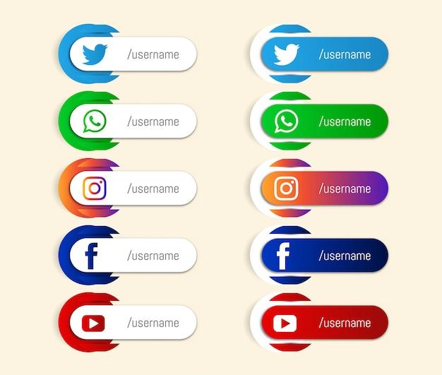 Terza icona inferiore di social media popolari astratti