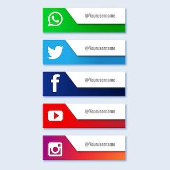 Terzo set di raccolta inferiore dei social media