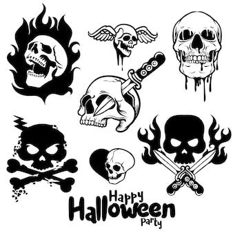 Teschi e ossa spettrali, decorazione disegnata a mano di halloween