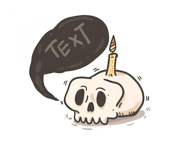 Teschio con messaggio bolla. cranio