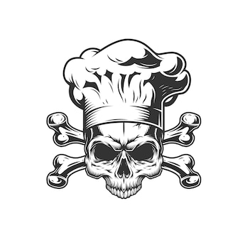 Teschio cuoco vintage monocromatico