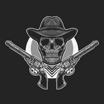 Teschio da cowboy in bianco e nero illustrazione vettoriale