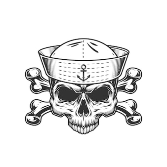 Teschio da marinaio vintage senza mascella