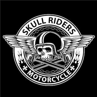 Teschio da motociclista con elmo e ali vintage, adatto per il logo del club motociclistico