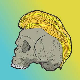 Teschio di capelli gialli. illustrazioni disegnate a mano di progettazione di scarabocchio di stile di vettore.