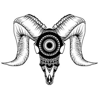 Teschio di capra con mandala