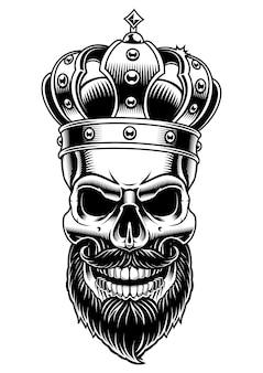 Teschio di re. illustrazione in bianco e nero su sfondo bianco.