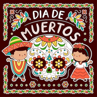 Teschio di zucchero e bambini in costume tradizionale messicano. giorno dei morti, concetto dia de muertos. icona dell'illustrazione del carattere di kawaii del fumetto di linea piatta di vettore. poster messicano dia de muertos